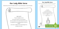 Our Lady Bible Verse Activity Sheet