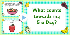 EYFS What Counts Towards My 5 a Day PowerPoint