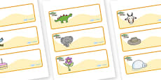 Safari Themed Editable Drawer-Peg-Name Labels