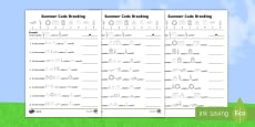 Differentiated Crack the Code Summer Activity Sheets
