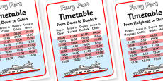 Ferry Port Role Play Timetables