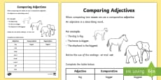 Comparative Adjectives Activity Sheet