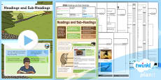 PlanIt Y3 SPaG Lesson Pack: Headings and Sub-Headings