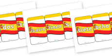 Spanish Number 0-20 Flash Cards
