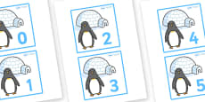 Penguins and Igloos Number Cards (0-50)
