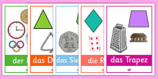 2D Shape Posters with Everyday Examples German
