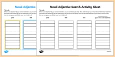 Novel Adjective Search Activity Sheet