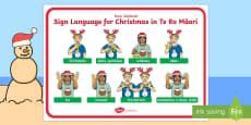 New Zealand Sign Language Te Reo Christmas Display Poster Te Reo Maori