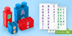 Upper and Lower Case Letters Matching Connecting Bricks Game