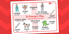 St. George's Day Word Mat Romanian Translation
