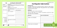 Earthquake Information Activity Sheet