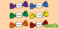 Statutory Spellings Year 3 and 4 On Sweets A4 Display Pack