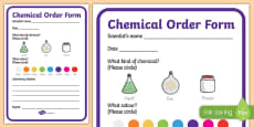 Science Lab Role Play Chemicals Order Forms