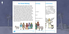 Nativity Story Comprehension Questions and Cloze Activity Gaeilge