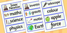 Isaac Newton Word Cards