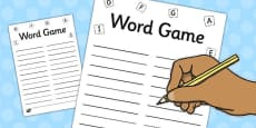 Word Game Display Pack Game Sheets