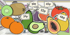 Priced Pieces of Fruit Cut-outs Mixed Up to 50p