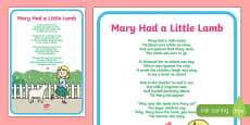 Mary Had a Little Lamb Nursery Rhyme Poster