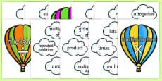 Hot Air Balloon Maths Signs and Vocabulary Display