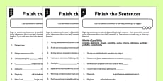 Differentiated Adverbs of Possibility Finish the Sentences Activity Sheet Pack