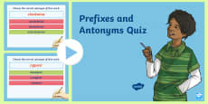 Prefixes and Antonyms Multiple Choice Quiz Game PowerPoint