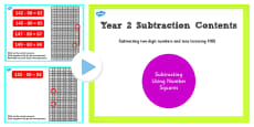 Year 2 Subtracting 2 Digit Numbers and Tens Crossing 100 From Number Squares PowerPoint