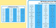 100 High Frequency Words Word Mat German Translation