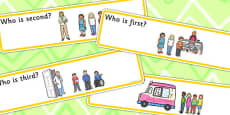 'Who Is...?' Ordinal Number Concept Cards Activity