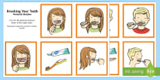 Brushing Your Teeth Sequencing Cards English/Romanian