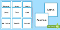 Counties of Ireland Matching Cards Gaeilge