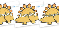 Days of the Week on Stegosarus Dinosaurs