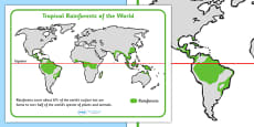 Tropical Rainforests World Map Reference Sheet
