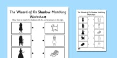 The Wizard of Oz Themed Shadow Matching Activity Activity Sheet