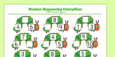 Number Sequencing Caterpillars to Support teaching on The Very Hungry Caterpillar Arabic Translation