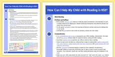 How Can I Help My Child With Reading in KS2? Information Sheet