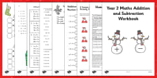 Christmas Themed Year 2 Maths Addition and Subtraction Workbook