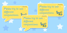 Time Saving Speech Bubble Stickers for Marking Conjunctions