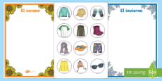 Winter and Summer Clothes Sorting Activity Spanish/Español