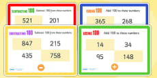 Adding and Subtracting 100 Maths Challenge Cards