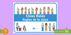 * NEW * Class Rules Display Poster US English/Spanish (Latin)