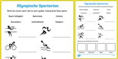Olympic Sports Activity Sheet German / Deutsch