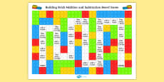 EYFS Building Brick Addition and Subtraction Board Game