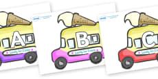 A-Z Alphabet on Ice Cream Vans