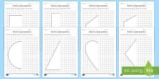 Simetrie cu figuri geometrice - Fișe de lucru