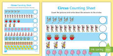 Circus Themed Counting Activity Sheet Up to 20