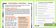 Christopher Columbus Explorer Differentiated Reading Comprehension Activity