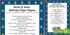 Birth of Jesus Nativity Finger Rhyme
