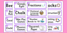 Purple Themed Editable Additional Classroom Resource Labels