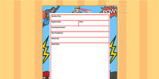 Superhero Themed Adult Led Carpet Based Activity Planning Template