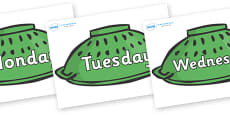 Days of the Week on Colander Helmets to Support Teaching on Whatever Next!